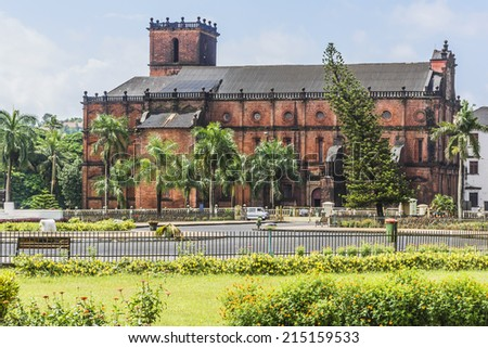 Basilica of Bom Jesus (Borea Jezuchi Bajilika) in Old Goa, which was the capital of Goa in the early days of Portuguese rule, located in Goa, India. Basilica is a UNESCO World Heritage Site.