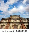 Basilica of Bom Jesus Church with blue sky in Panaji, Old Goa, India - stock photo