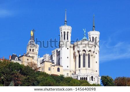 Basilica of Notre-Dame de Fourviere in Lyon, France - stock photo