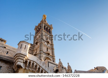 Basilica of Notre-Dame de la Garde in Marseilles, France - stock photo