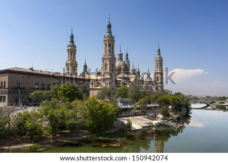 Basilica of Our Lady of the Pillar and the Ebro River - stock photo