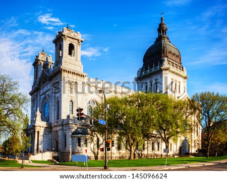 Basilica of Saint Mary in Minneapolis, MN in the morning - stock photo