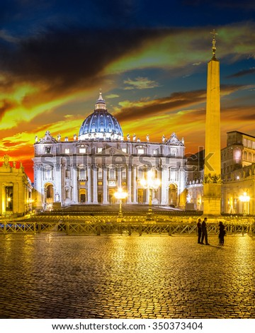 Basilica of Saint Peter in Vatican at beautiful sunset