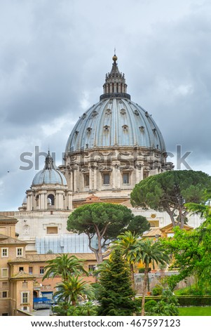 Basilica of Saint Peter. Vatican. View from the garden