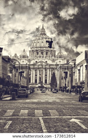 Basilica of Saint Peters in Rome, Italy. - stock photo