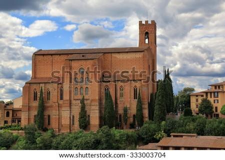 Basilica of San Domenico, also known as Basilica Cateriniana, is a basilica church in Siena, Tuscany, Italy - stock photo