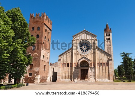 Basilica of San Zeno - Verona Italy / Facade and bell tower of the Church of San Zeno in Verona (UNESCO world heritage site), Veneto, Italy - stock photo