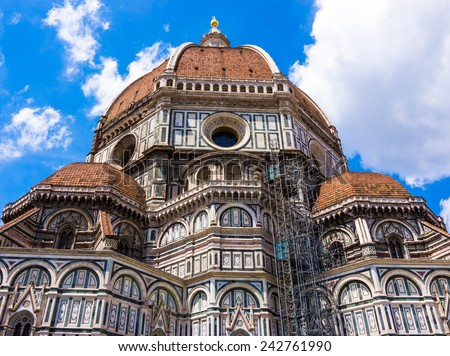Basilica of Santa Maria del Fiore (Basilica of Saint Mary of the Flower) in Florence, Italy - stock photo