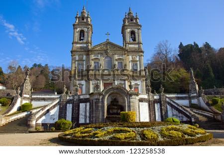 basilica of Shrine of Good Jesus of the Mountain , Braga, Portugal - stock photo