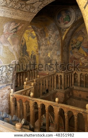 Basilica of St. Mark, Venice (Italy) - View of indoor fresco and paintings on the upper floor - stock photo