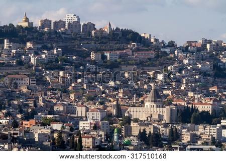 Basilica of The Annunciation in Nazareth - stock photo