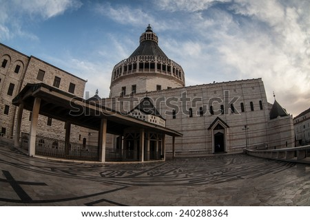 Basilica of the Annunciation. This church was built on the site where according to tradition, the Annunciation took place. Nazareth, Israel  - stock photo