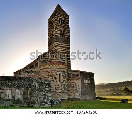 Basilica of the Holy Trinity of Saccargia, Sardinia Italy - stock photo