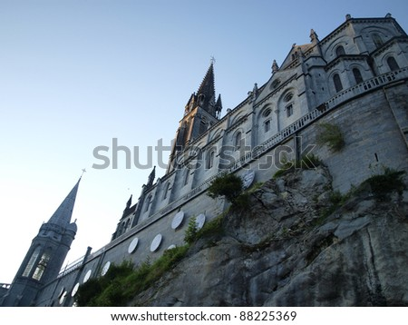 Basilica of the Immaculate Conception Masabelsk? over the grotto in Lourdes, France - stock photo