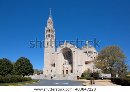 Basilica of the National Shrine of the immaculate Conception in Washington DC, exterior. - stock photo
