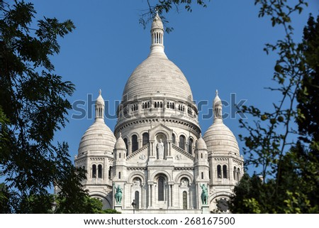 Basilica of the Sacre Coeur on Montmartre, Paris, France - stock photo