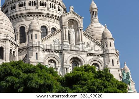 Basilica of the Sacre Coeur on Montmartre, Paris, France - stock photo