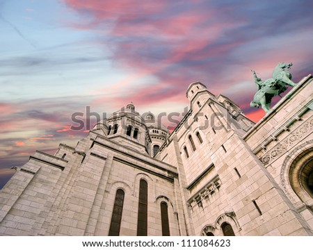 Basilica of the Sacred Heart of Paris, commonly known as Sacre-CÃ?Â?ur Basilica, Paris, France
