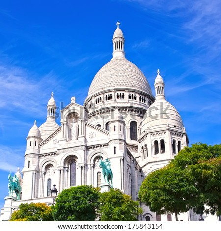 Basilica Sacre Couer at Montmartre in Paris, France - stock photo
