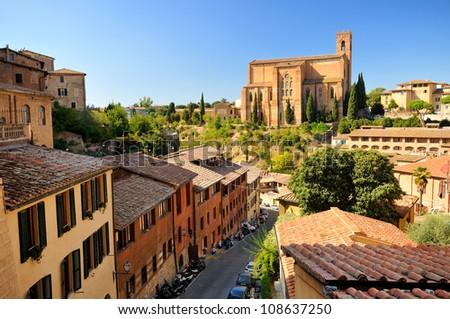 basilica san domenico (siena - toscana - italy) - stock photo
