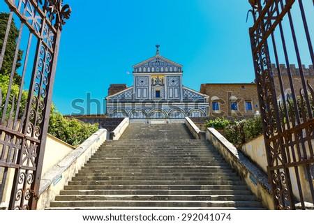 Basilica San Miniato al Monte at morning in Florence, Tuscany, Italy - stock photo