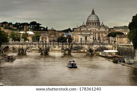 Basilica Sant Pietro and Ponte Vittorio Emanuele 2 ,Vatican, Rome, Italy - stock photo