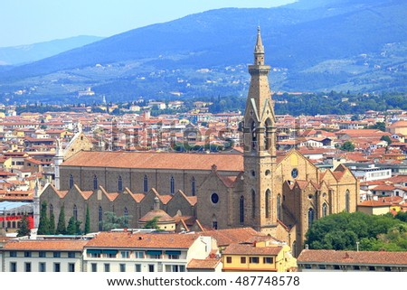 Basilica Santa Croce surrounded by historical buildings in Florence, Tuscany, Italy