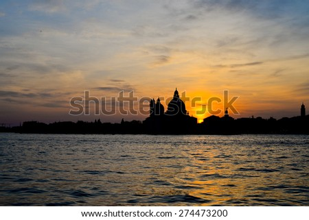 Basilica Santa Maria della Salute, Venice, Italy at sunset - stock photo