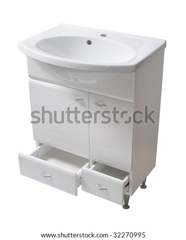 Basin and cabinet. File includes clipping path - stock photo