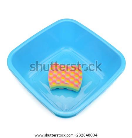basin and sponge isolated on white background - stock photo