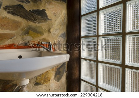Basin in toilet, process color - stock photo