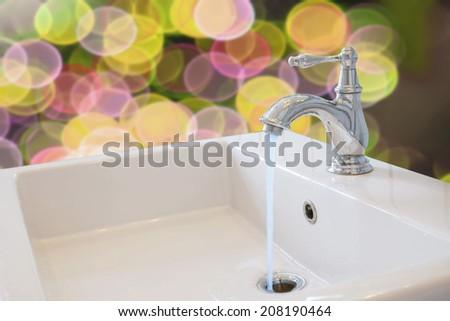 Basin in washroom beautiful background  - stock photo