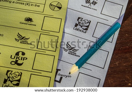 BASINGSTOKE, ENGLAND - MAY 15, 2014: Ballot papers for the local and European Parliamentary elections to be held on May 22nd 2014. - stock photo