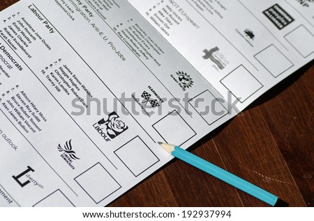 BASINGSTOKE, ENGLAND - MAY 14, 2014: Part of the ballot paper for the European Parliamentary elections for the South East region of the UK.  Fifteen parties are standing with voting on May 22, 2014.