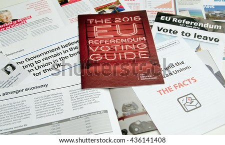 BASINGSTOKE, UK - JUNE 13, 2016: Leaflets posted through doors in Basingstoke about the forthcoming Referendum on whether the UK should remain in or leave the European Union. - stock photo