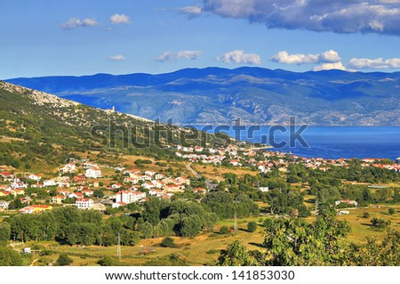 Baska bay mountain and sea landscape, Island of Krk, Croatia