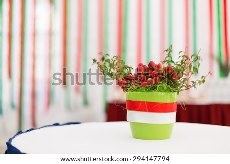 Basker with flowers - stock photo