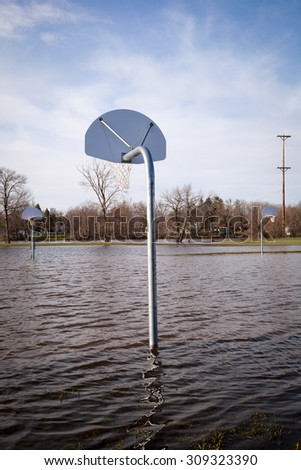 Basket ball court under water.