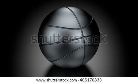 Basket Ball in Low Key Lighting over a black background. Part of a series. 3D Rendering.