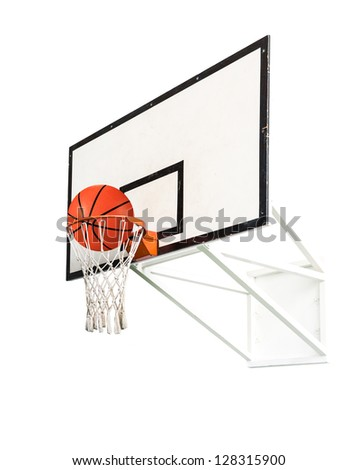 Basket ball inside the net isolated on white background - stock photo