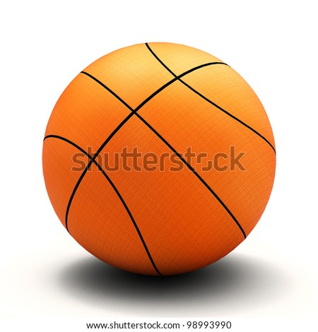Basket ball, white background and smooth shadow - stock photo