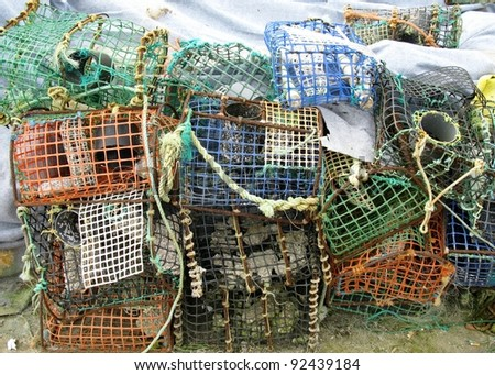 Basket fish traps in Cacais in Portugal to catch crab and lobster in the atlantic ocean