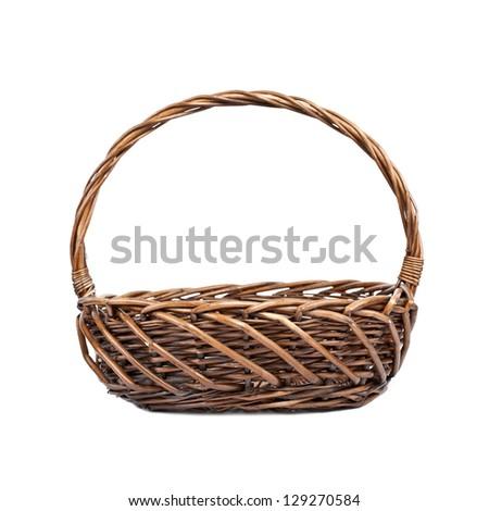 Basket for picnic on white background - stock photo
