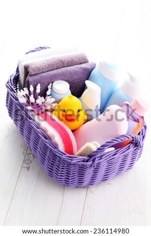 basket full of baby accessories - children - stock photo