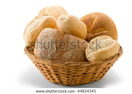 Basket full of bread studio isolated on white background