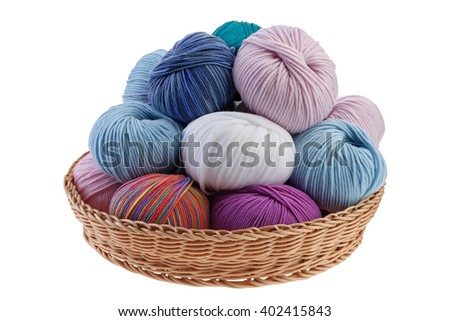 Basket full of colorful wool yarn balls in it