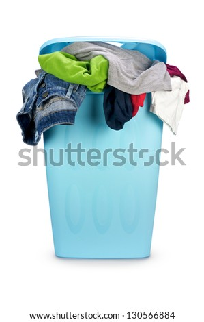 Basket full of dirty cloth isolated on white background - stock photo