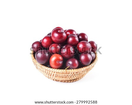 Basket full of fresh ripe cherry on a white background - stock photo