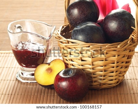 Basket full of fruits and glass with jam