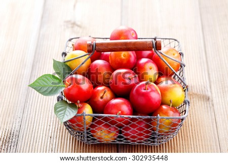 basket full of plums - fruits and vegetables - stock photo